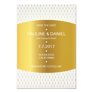 Royal Save The Date Golden Stripes Lines Vip Card