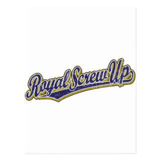 Royal Screw Up script logo in blue distressed Postcards
