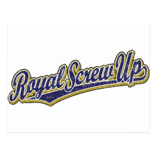 Royal Screw Up script logo in blue distressed Post Cards