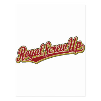 Royal Screw Up script logo in red Post Cards