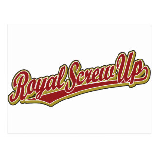 Royal Screw Up script logo in red Postcards