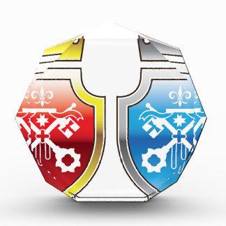 Royal Shield Red Blue Crown Crossed Keys logo Award