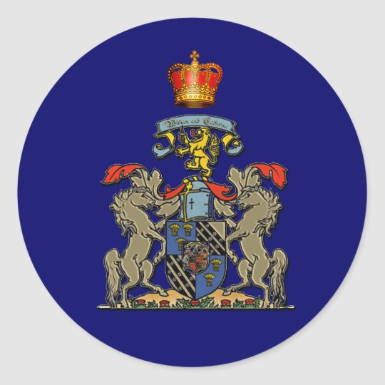 Royal Shield, William and Kate, Optional Text Classic Round Sticker