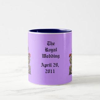Royal Shield, William and Kate, Optional Text Two-Tone Coffee Mug