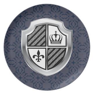 Royal Silver Metallic Shield Vintage Plate