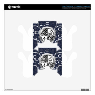 Royal Silver Metallic Shield Vintage PS3 Controller Decal