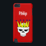 "Royal Skull iPod Touch Case Template<br><div class=""desc"">iPod touch case template with illustration of a skull wearing a golden crown with gems and customizable name</div>"