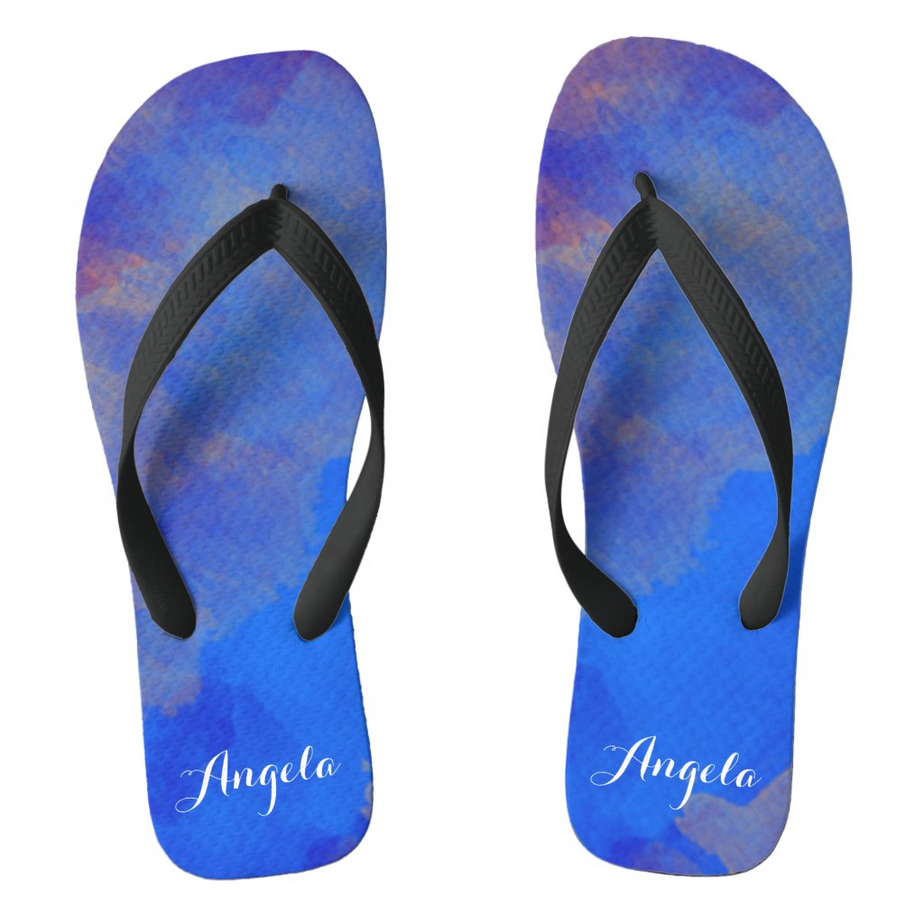 Royal Sky Blue Watercolor Flip Flops
