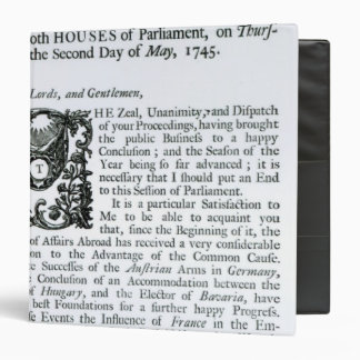 Royal Speech to both Houses of Parliament Binder