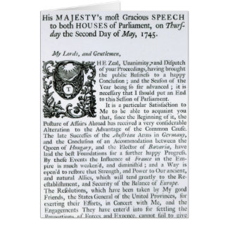 Royal Speech to both Houses of Parliament Card