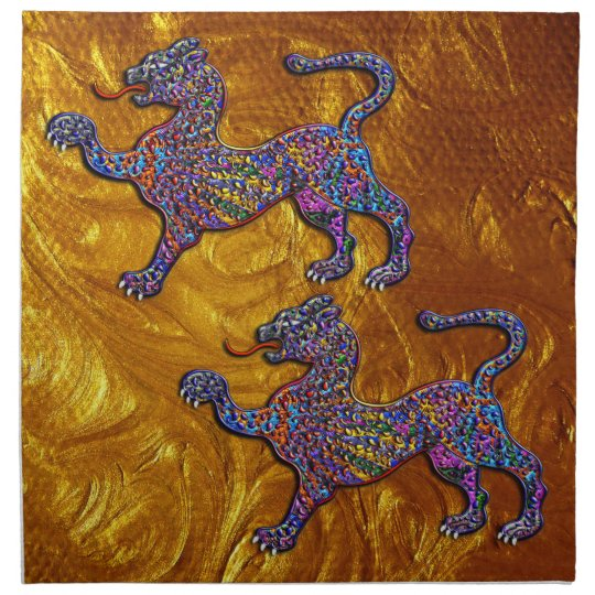 Royal Spotted Leopards Geometric Design Napkin