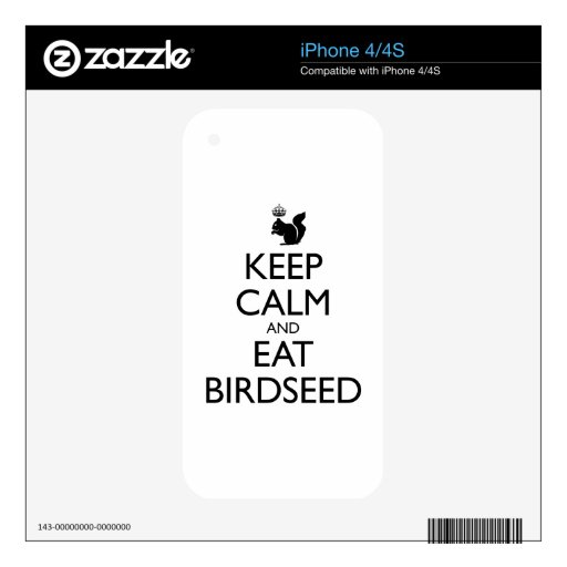 Royal Squirrel: Keep Calm and Eat Birdseed iPhone 4 Decals