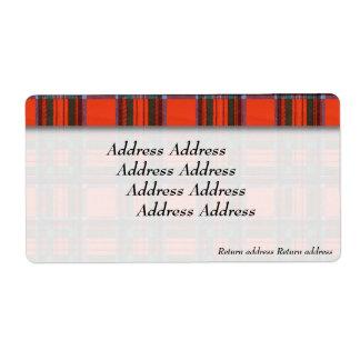 Royal Stewart clan Plaid Scottish tartan Label