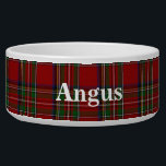 "Royal Stewart Custom Tartan Plaid Pet Bowl<br><div class=""desc"">Traditional red,  blue,  green,  black,  yellow,  and white Royal Stewart tartan plaid around this white ceramic dog bowl.  Custom white text is ready to personalize with your pet's name.  Makes a great gift idea to a new dog owner.</div>"