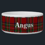 "Royal Stewart Custom Tartan Plaid Pet Bowl<br><div class=""desc"">Traditional red,  blue,  green,  black,  yellow,  and white Royal Stewart tartan plaid around this white ceramic dog bowl.  Custom white text is ready to personalize with your pet&#39;s name.  Makes a great gift idea to a new dog owner.</div>"