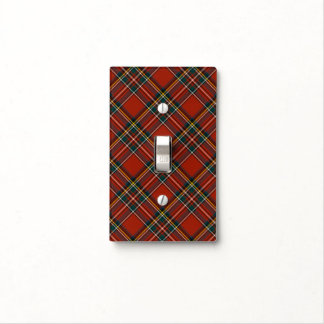 Royal Stewart Family Red, Blue, and Green Tartan Light Switch Cover