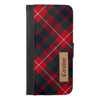 Royal Stewart Girly Tartan Pattern - Custom Name iPhone 6/6s Plus Wallet Case