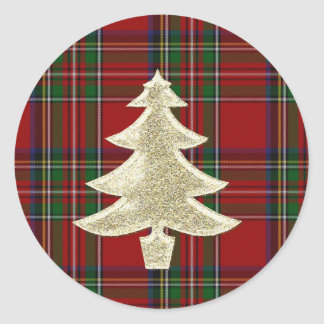 Royal Stewart Plaid Christmas Envelope Seal Classic Round Sticker