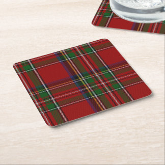 Royal Stewart Plaid Paper Coasters Square Paper Coaster