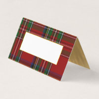 Royal Stewart Plaid Wedding Folded Place Card