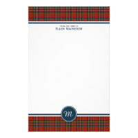 Royal Stewart Tartan Classic Red Plaid Monogram Stationery