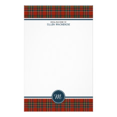 Royal Stewart Tartan Classic Red Plaid Monogram Stationery at Zazzle