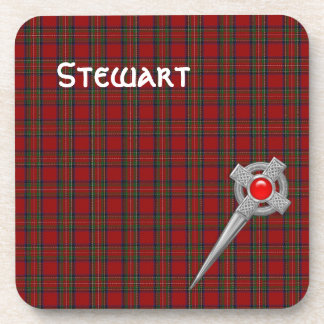 Royal Stewart Tartan Plaid and Celtic Kilt Pin Beverage Coaster