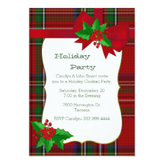 Royal Stewart Tartan Plaid Custom Christmas Party Card