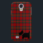 "Royal Stewart Tartan Plaid Pattern and Scottie Dog Samsung Galaxy S4 Cover<br><div class=""desc"">The Royal Stewart or Stuart  tartan plaid in green and red and a black Scottie Dog (Scottish Terrier) silhouette decorates this British inspired patriotic case for the Samsung Galaxy S4.</div>"