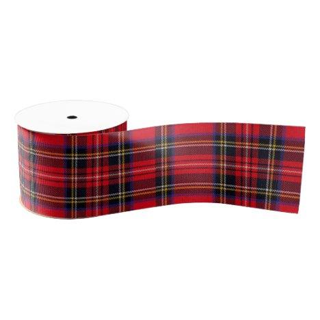 Royal Stewart tartan red black plaid Grosgrain Ribbon