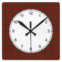 Royal Stewart Tartan Red Scottish Plaid Pattern Square Wall Clock
