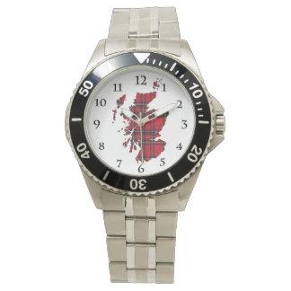 Royal Stewart Tartan Scotland Map Watch