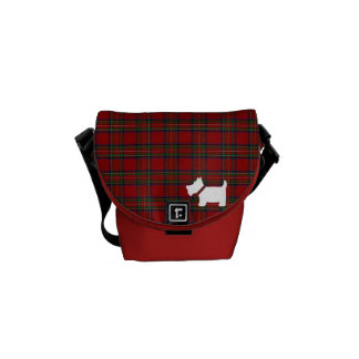 Royal Stewart Tartan & Scottie Dog Silhouette Courier Bag