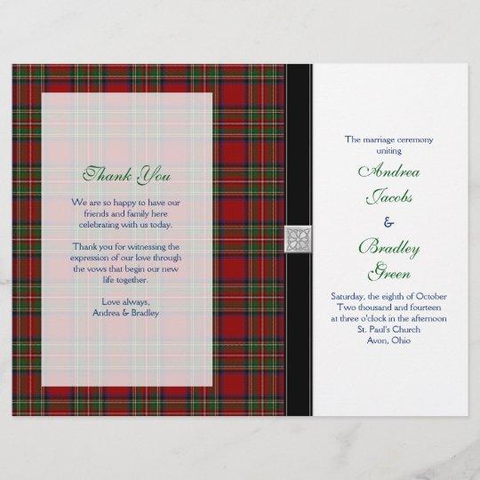 royal stewart tartan wedding program cover zazzle com