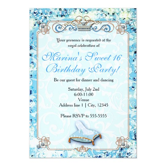 Royal Storybook Cinderella Sweet 16 Invitation Zazzlecom