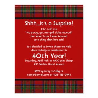 "Royal Stuart Tartan 40th Birthday Party Invitation 4.25"" X 5.5"" Invitation Card"
