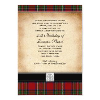 "Royal Stuart Tartan 60th Birthday Party Invitation 5"" X 7"" Invitation Card"
