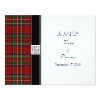 "Royal Stuart Tartan Celtic Wedding Response Card 4.25"" X 5.5"" Invitation Card"