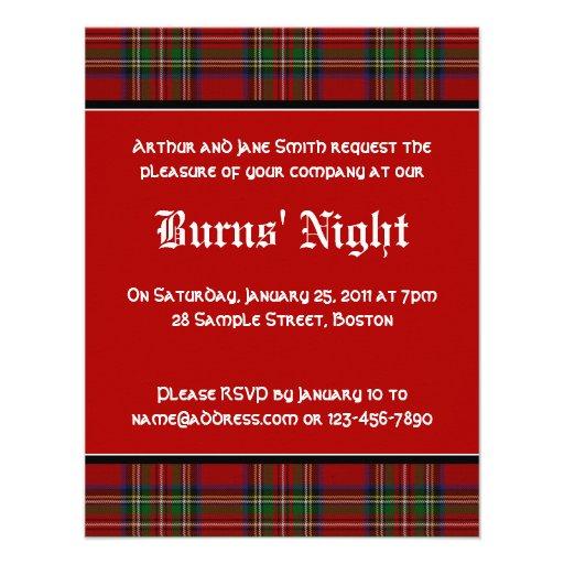 """Royal Stuart Tartan Robbie Burns Night Invitation 4.25"""" X"""