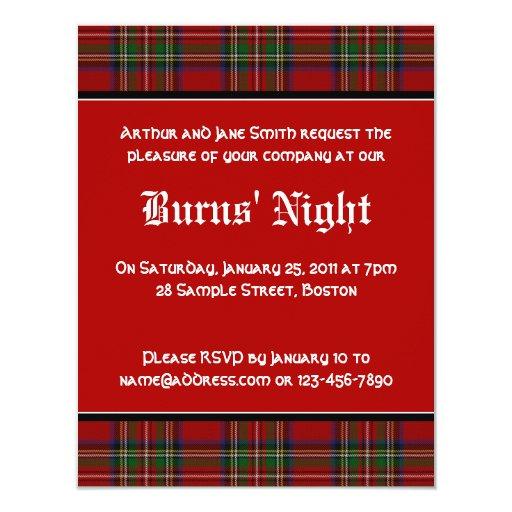 Royal Stuart Tartan Robbie Burns Night Invitation | Zazzle