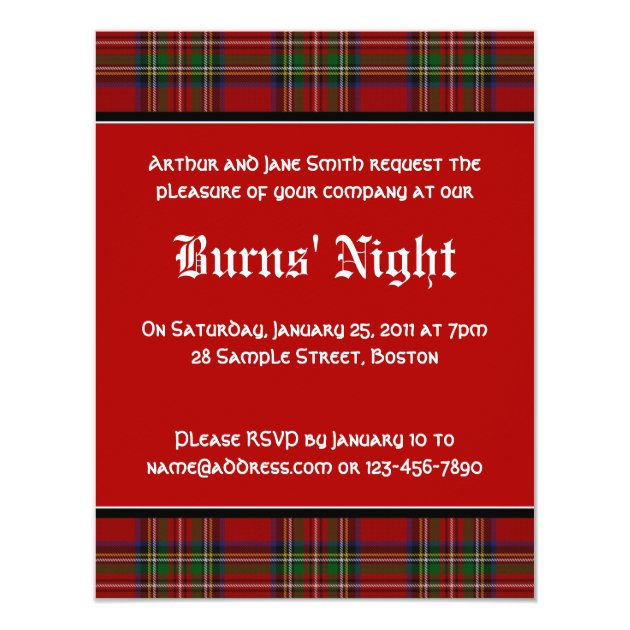 Royal Stuart Tartan Robbie Burns Night Invitation | Zazzle.com