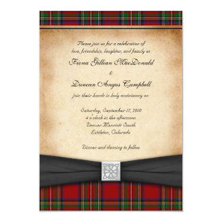 "Royal Stuart Tartan Wedding Invitation 5"" X 7"" Invitation Card"