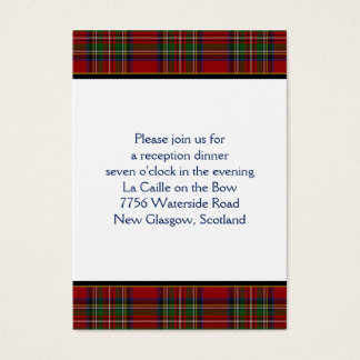 Royal Stuart Tartan Wedding Reception Card