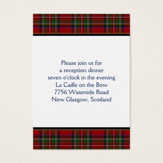 Royal Stuart Tartan Wedding Reception Card