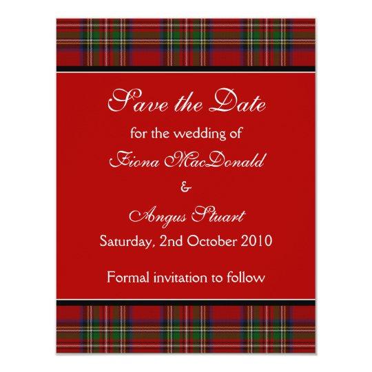 Royal Stuart Tartan Wedding Save the Date Card