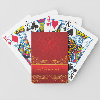 Royal Swirls of Gold On Red Bicycle Playing Cards