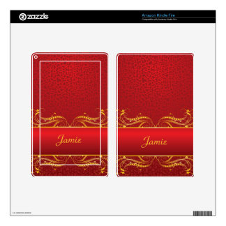 Royal Swirls of Gold On Red Kindle Fire Decals