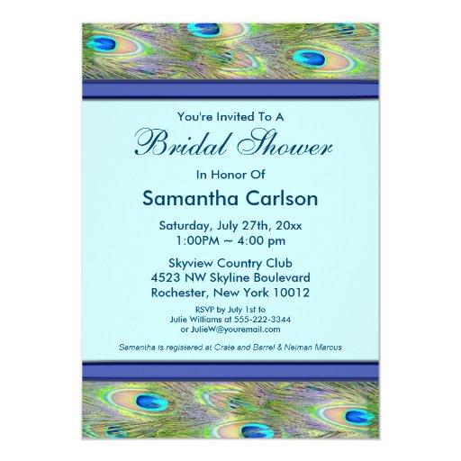 Royal Teal Blue Peacock Bridal Shower 5x7 Paper Invitation Card