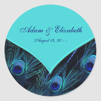 Royal Teal Blue Peacock Wedding Classic Round Sticker