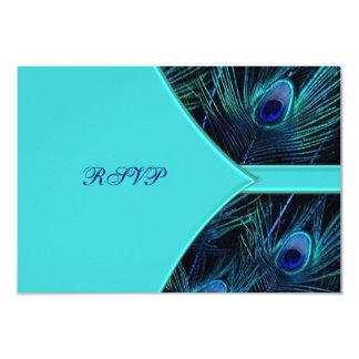 Royal Teal Blue Peacock Wedding RSVP Card